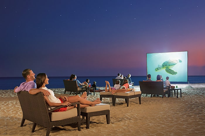 movies on the beach at Dreams Resorts